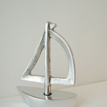 Aluminum Greek miniature sailboat, outlined sail,Greek sailboat sculpture,silver miniature sailboat sculpture, made to order