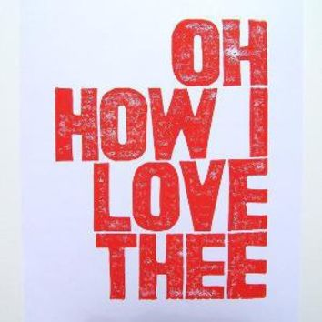 Oh How I Love Thee RED ORANGE BLOCK PRINT by thebigharumph