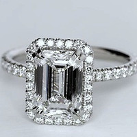 1.73ct Emerald Cut Diamond Engagement Ring GIA certified JEWELFORME BLUE