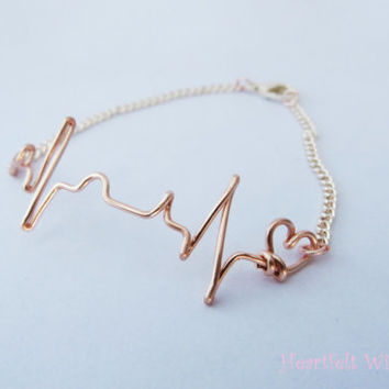 SALE EKG Bracelet Rose Gold heartbeat by heartfeltwiredesigns