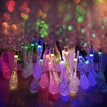 DCCKWQA 5m Solar Powered Water Drop String Lights LED Fairy Light 20LED for Wedding Christmas Party Festival Outdoor Indoor Decoration