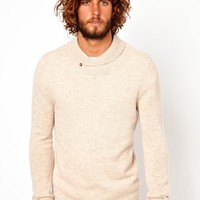 ASOS Lambswool Rich Shawl Neck Sweater - Oatmeal