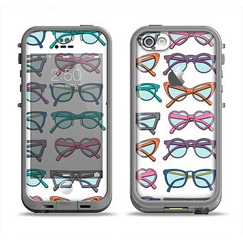 The Various Colorful Vector Glasses Apple iPhone 5c LifeProof Fre Case Skin Set