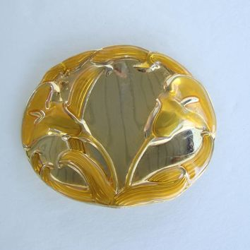 Georgiou Cala Lily Belt Buckle for Stretch Belt Yellow Poured Enamel