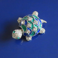 Vintage Turtle Pin, Blue & Green Enamel, Rhinestone, Silver Tone or Plated Metal, Tortoise, Terrapin, Turtle Brooch, Cute!