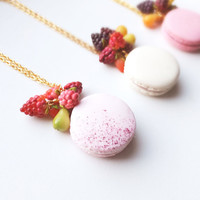 French Macaron necklace/ Pink Pastel macaron/ polymer clay/ berries & fruits/ Long chain/ fruit necklace/ rustic necklace/ french macaroons