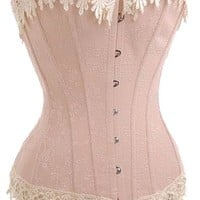 Wingeler Corset Womens Boned Royal Victorian Elegant Bustier Muti Color Pink
