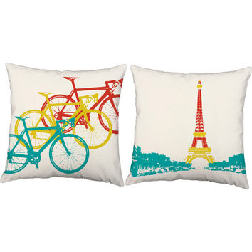 Set of 2 Tour De France Pillows - Bicycle Pillow Covers and Or Cushion Inserts - Cycling Print, France, Eiffel Tower Print, Bike Pillow