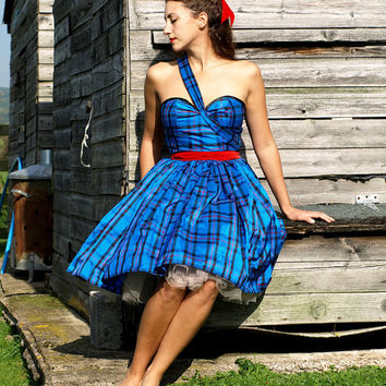 $377.05 Royal Blue Tartan Dress MADE TO ORDER by makemeadress on Etsy