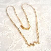 16k Gold Plated Leave Connector Necklace by VartJewelry on Etsy
