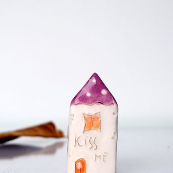KISS ME...My little Clay House - Handmade miniature ceramics house in purple, Valentines gift, Home decor