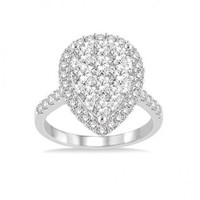 2ct tw Diamond Cluster Style Fashion Ring in 14K White Gold - Diamond Rings - Jewelry & Gifts