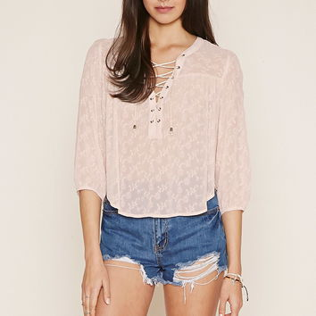 Floral-Embroidered Lace-Up Top