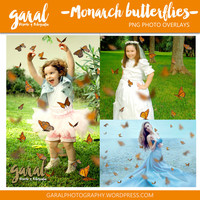 Monarch Butterflies Photoshop Overlays, 42 butterfly overlay, nature, scattered butterflies, PSD and PNG files, photoshop overlay