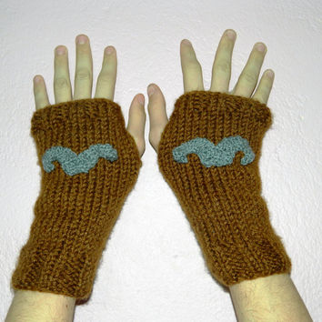 Brown Fingerless Gloves, Men Women Mitts, Unisex, Gift, Wool, Gift under 50, mustache,Hand Knit, Original design