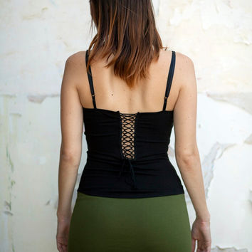 SALE Corset tank top, Steampunk, Open back, Bohemian Gypsy top, black top