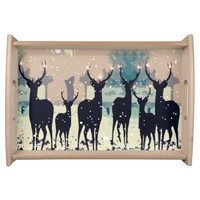 Christmas deer in the forest Small Serving Tray
