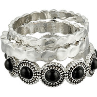 Sam Edelman Metal Stone Stack Ring Black/Rhodium - Zappos.com Free Shipping BOTH Ways
