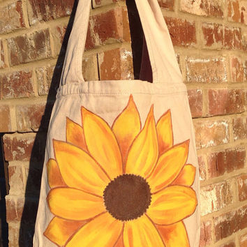 Hand Painted Sunflower Canvas Sling Messenger Bag
