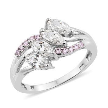 Platinum Over Sterling Silver Ring Made with SWAROVSKI Pink and White ZIRCONIA