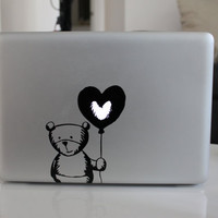 Cute Bear Balloon Heart-Macbook Decal Mac Sticker Macbook Decals Macbook Stickers Apple Vinyl Decal for Apple Macbook Pro / Macbook Air