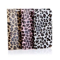 Docooler®Leopard Print Luxury Flip Wallet Case Cover for Samsung Galaxy S4 i9500/i9505 (White)