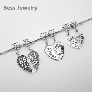 New mix 12pcs Tibetan silver Bead charms best friend fit Pandora heart Charm Bracelets Necklace DIY Metal Jewelry Making