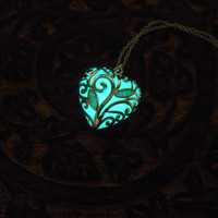 Aqua Glowing Necklace - Glow in the Dark - Glowing Jewelry - Glowing Pendant - Aqua Heart - Heart Glow Necklace -Gift for her-Silver pendant