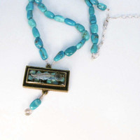 Turquoise Necklace Turquoise Beaded Necklace Resin by Readesign