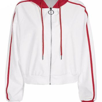 Red and White Zip Track Jacket