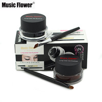 Best 2 in 1 Brown + Black Gel Eyeliner Make Up Water-proof Smudge-proof Set Eye Liner Kit Eye Makeup With 2 Cosmetics Brushes
