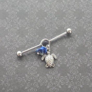Turtle - Lapis Lazuli Nuggets - Industrial Barbell Piercing 14G