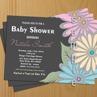 Printable Baby Shower Invitation Boy Girl -FREE Thank You card included, Baby Shower Invite flowers