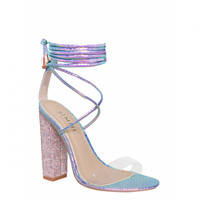 Karla Rainbow Snake Clear Lace Up Diamante Heels : Simmi Shoes