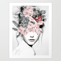 WOMAN WITH FLOWERS 10 Art Print by dada22