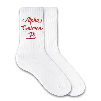 Alpha Chi Omega - Watercolor Script Name Crew Socks
