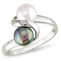 10k White Gold Black and White FW Pearl Ring
