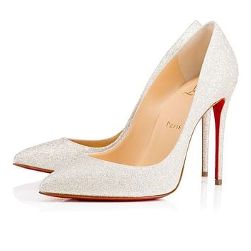 Christian Louboutin Cl Pigalle Follies Ivory Glitter Bridal 1150035wh62