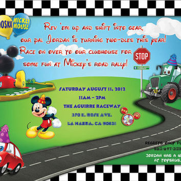 Mickey Mouse Clubhouse Road Rally Birthday Party Invitation - Digital File