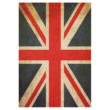 Vintage Union Jack British Flag Wood Poster