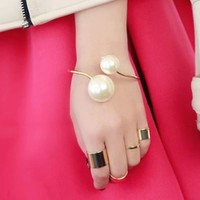 Double Pearl Statement Cuff Bangle (Gold Band)