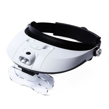 81001 - G 2 Detachable LED Headband Illuminated Magnifier with 5 Replaceable lens Binoculars Magnifiers