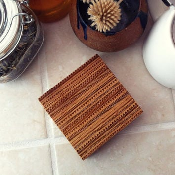 Aztec Coaster Set, Engraved Coasters, Bamboo Coasters, Modern, Tribal Pattern, Hostess, Anniversary, Birthday, Christmas, Cooking Gift