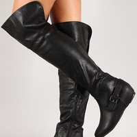 Wild Diva Lounge Candies-159 Buckle Hidden Wedge Knee High Boot