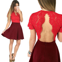 Women V-neck Solid Short Hole Sexy Lace Backless A-line Dress