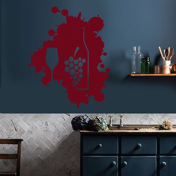 Vinyl Wall Decal Blot Wine Glass Bottle Kitchen Decoration Stickers (2876ig)