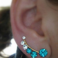 Ear Sweep Wrap - Cuff Earring with Swarovsky - Gold Filled - Blue