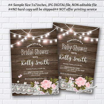 Rustic Baby Shower Invitation, Bridal shower, floral flower, shabby chic,pink rose flowers - card 1005
