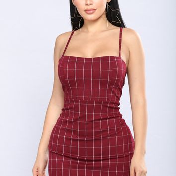 Oxford Plaid Dress - Burgundy