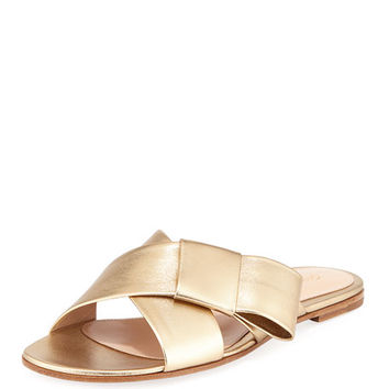 Gianvito Rossi Flat Metallic Ribbon Slide Sandal